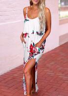 Floral Pocket Layered Spaghetti Strap Maxi Dress - White
