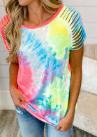 Tie Dye Hollow Out Blouse
