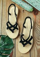 Summer Round Toe Slip On Flat Sandals
