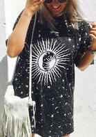 Sun Moon Star Mini Dress - Black
