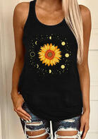 Sunflower Moon O-Neck Tank - Black