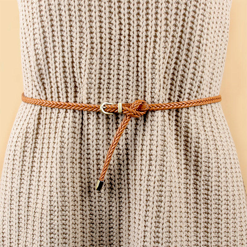 Women Skinny Braided Waist Belt фото