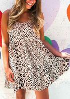 Leopard Ruffled Open Back Tie Spaghetti Strap Mini Dress
