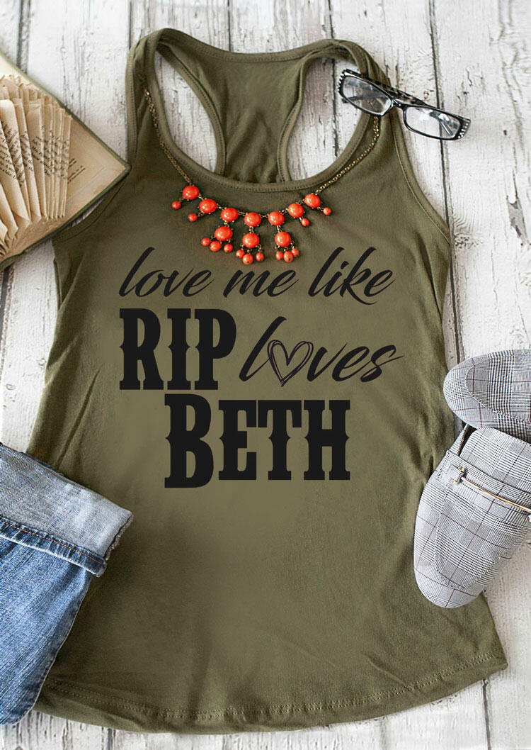 Tank Tops Love Me Like Rip Loves Beth Tank without Necklace in Army Green. Size: S,M,L,XL фото