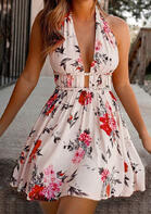 Floral Tie Halter Open Back Ruffled Mini Dress