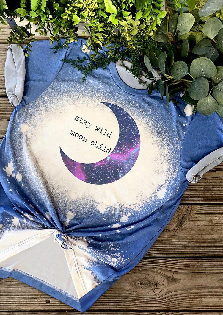 Presale - Stay Wild Moon Child Tie Dye T-Shirt Tee - Blue, 473571