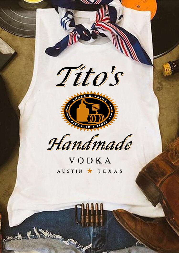 Tito's Handmade Vodka Tank without Silk Scarf - White фото