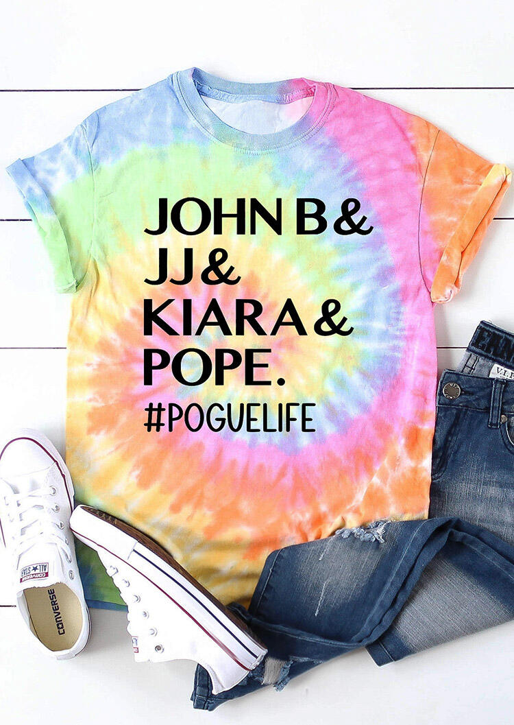 Tees T-shirts Presale - Tie Dye John B And JJ And Kiara And Pope Pogue Life T-Shirt Tee. Size: S,M,,XL, Multicolor