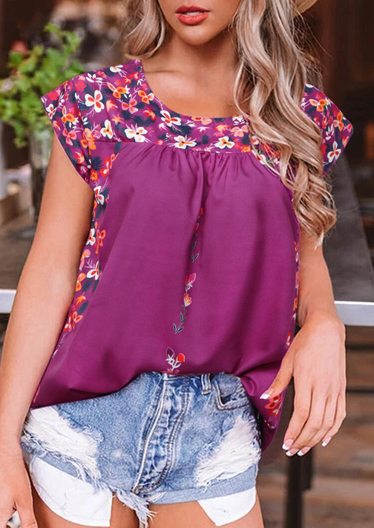 Floral Ruffled O-Neck Blouse - Plum