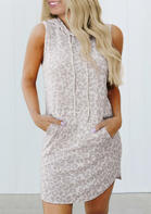 Leopard Pocket Drawstring Hooded Mini Dress