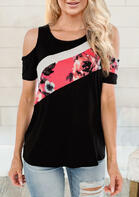 Floral Splicing Cold Shoulder Blouse - Black