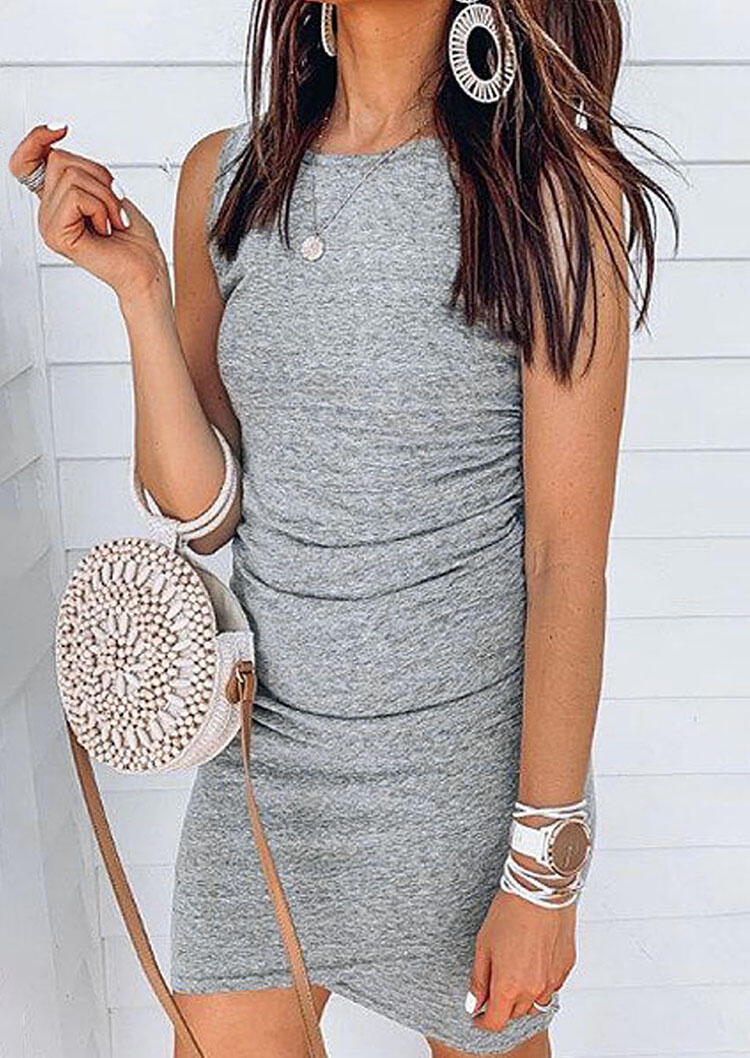 Asymmetric Sleeveless Mini Dress without Necklace - Gray фото