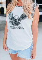 Free Spirit Eagle Leopard Splicing Ruffled Tank - White