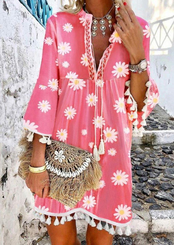 Daisy Ruffled Tassel V-Neck Mini Dress without Necklace - Pink фото
