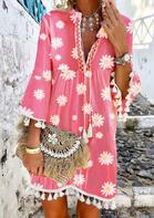 Daisy Ruffled Tassel V-Neck Mini Dress - Pink