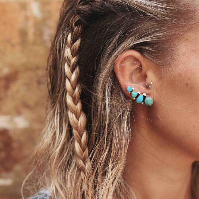 Turquoise Beading Stud Earrings - Cyan