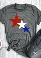 Color Block Star T-Shirt Tee - Gray
