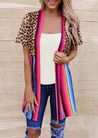 Leopard Splicing Striped Cardigan