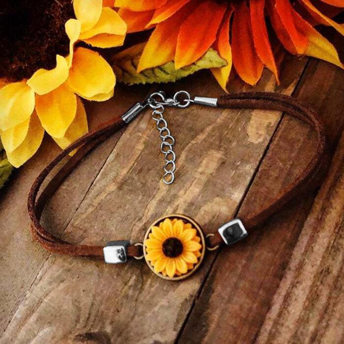 Vintage Sunflower Leather Bracelet - Brown