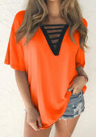 Hollow Out V-Neck Blouse