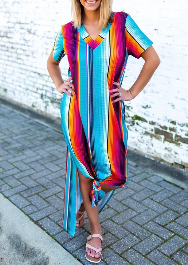 Maxi Dresses Colorful Serape Striped Slit V-Neck Maxi Dress in Stripe. Size: S,M,L фото