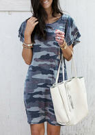 Camouflage Ruffled O-Neck Mini Dress