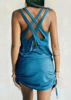 Criss-Cross Hollow Out Drawstring Mini Dress - Blue
