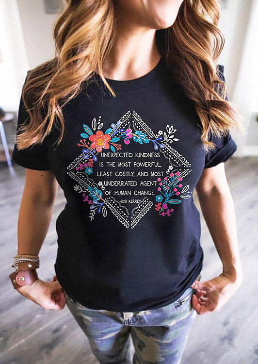 Unexpected Kindness Floral T-Shirt Tee - Black фото