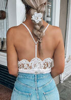 Lace Splicing Open Back V-Neck Camisole