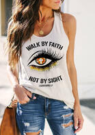 Walk By Faith Not By Sight Cross Tank - White
