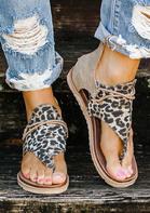 Women's Summer Leopard Printed Zipper Flat Sandals