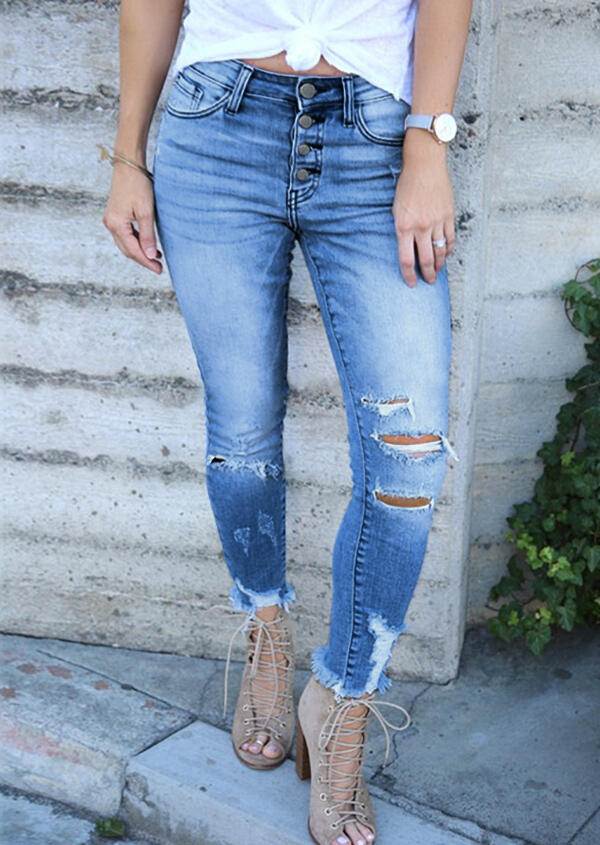 Pants Hollow Out Ripped Hole Pocket Button Denim Jeans in Blue. Size: S,M,L,XL фото