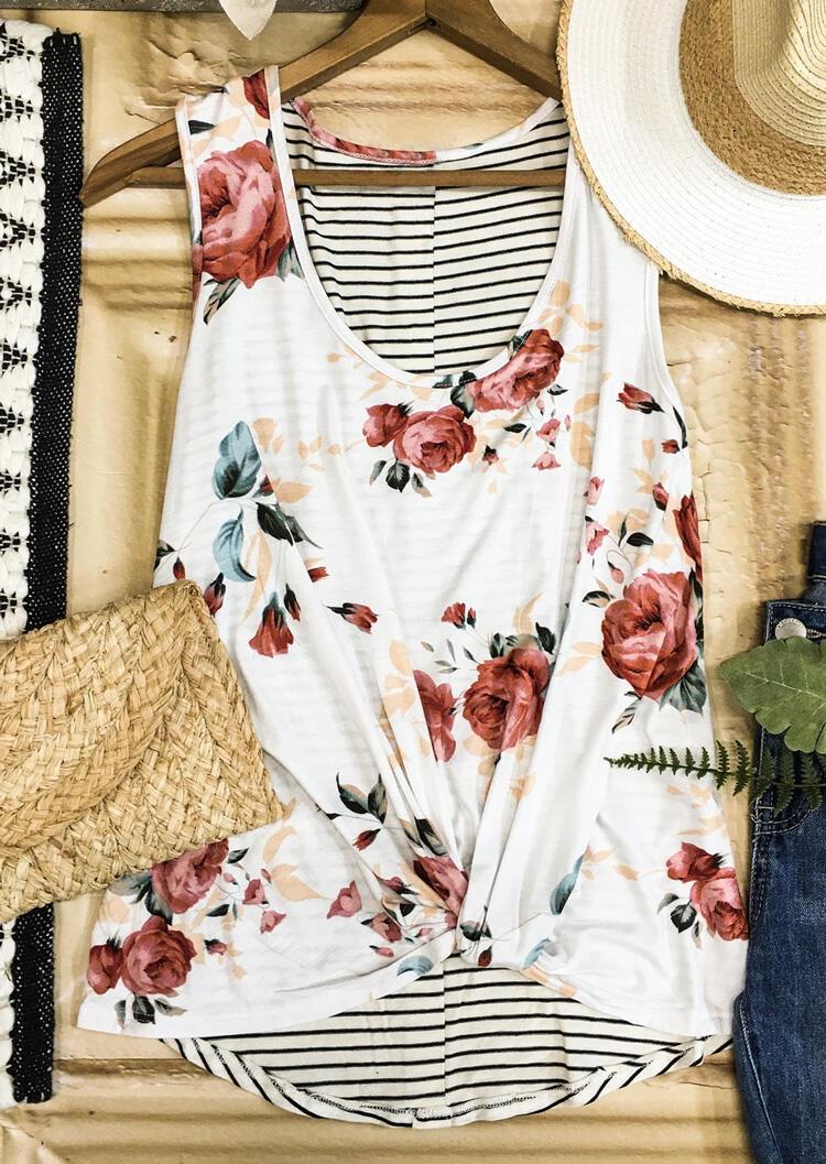 Floral Striped Button Tank - White фото