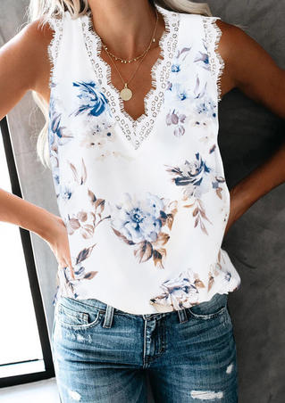 Floral Lace Splicing Tank without Necklace - White