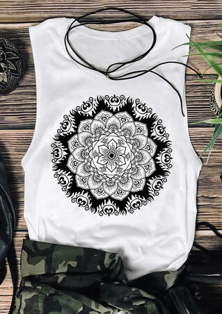 Presale - Mandala O-Neck Tank without Necklace - White