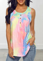 Tie Dye Button Ruffled Tank