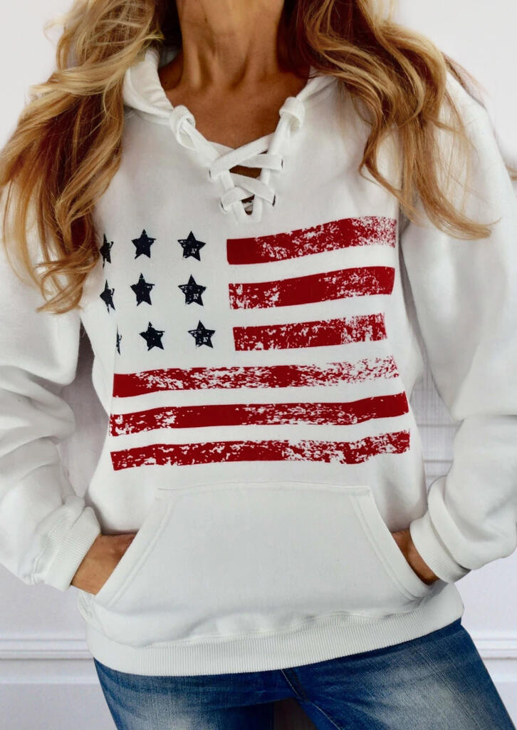 American Flag Lace Up Pocket Hoodie - White фото