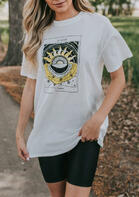 Sun And Moon O-Neck T-Shirt Tee - White