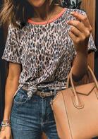 Leopard O-Neck T-Shirt Tee