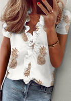 Pineapple Ruffled Blouse without Necklace - White