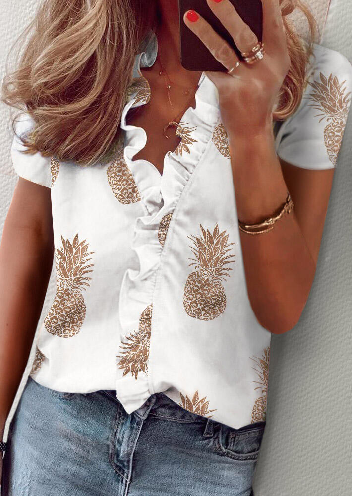 Blouses Pineapple Ruffled Blouse without Necklace in White. Size: S,M,L,XL фото