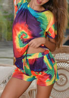 Tie Dye T-Shirt Tee And Pocket Drawstring Shorts Pajamas Set
