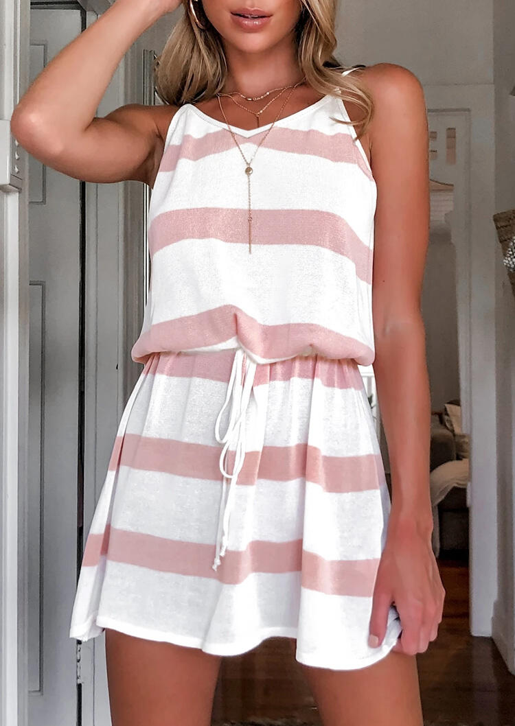 Striped Splicing Drawstring Mini Dress without Necklace - Pink фото