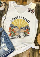 Country Roads Take Me Home Floral Tank