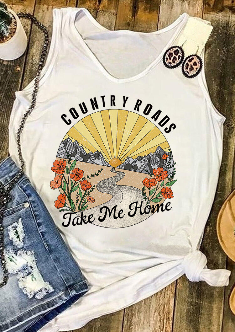 Tank Tops Country Roads Take Me Home Floral Tank in White. Size: S,M,L,XL фото