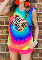 Tie Dye Texas Leopard Tank without Necklace