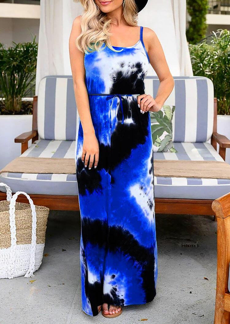Tie Dye Drawstring Open Back Maxi Dress - Blue фото