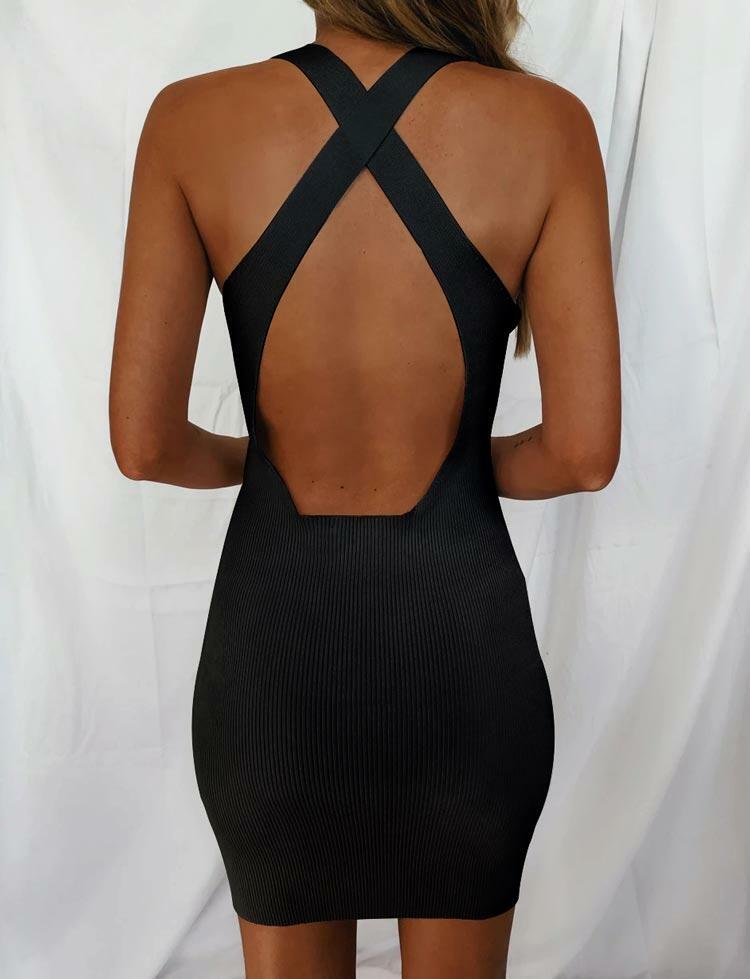 Bodycon Dresses Criss-Cross Open Back Bodycon Dress in Black. Size: L фото