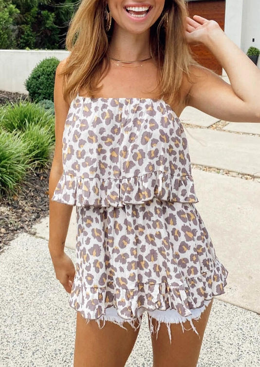 Leopard Ruffled Layered Spaghetti Strap Blouse without Necklace фото