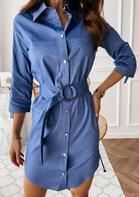 Button Pocket Denim Mini Dress